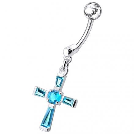 Fancy Cross Dangling Belly Moving Ring