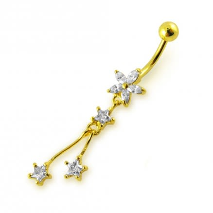 14G 10mm Yellow Gold Platted Silver Clear Jewel Flower With 3 Star Belly Ring