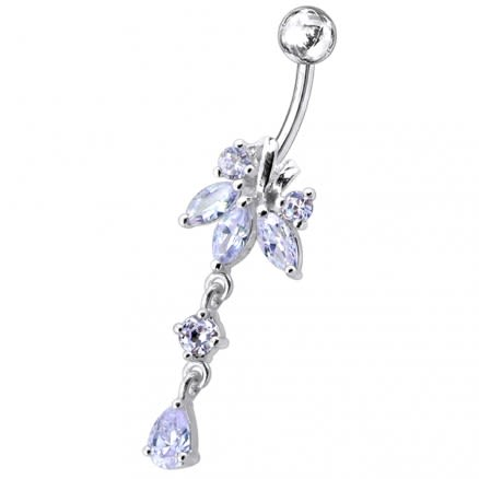 Flower with Tear Dangling Belly Moving Ring