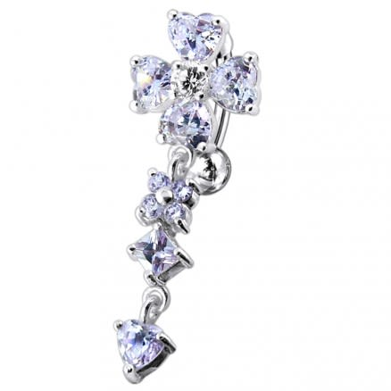 Flower Dangling Belly Moving Ring