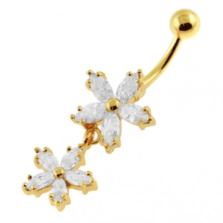 14G 10mm Yellow Gold Platted Silver Clear Jeweled Prong Set Flower Belly Ring