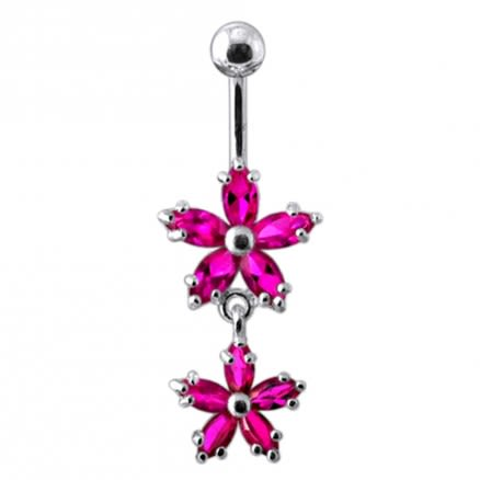 Prong Set Flower Dangling Belly Moving Ring
