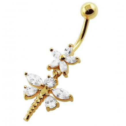 14G 10mm Yellow Gold Platted Silver Clear Jewel Flower and Dragonfly Belly Ring