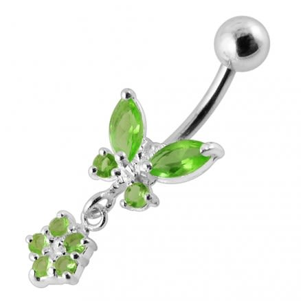 Butterfly with Flower Dangling Belly Ring