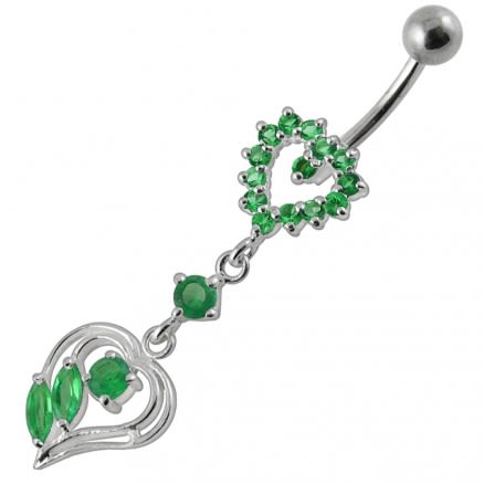 Double Heart Dangling Belly Ring