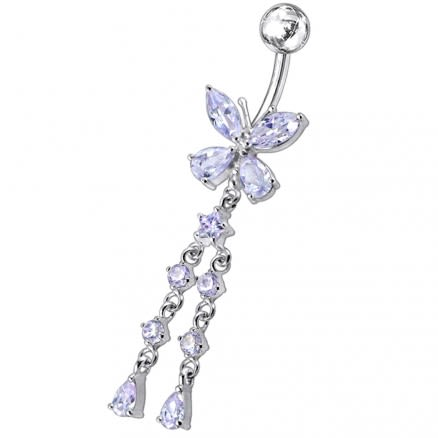 Butterfly With Twin Dangling Belly Ring