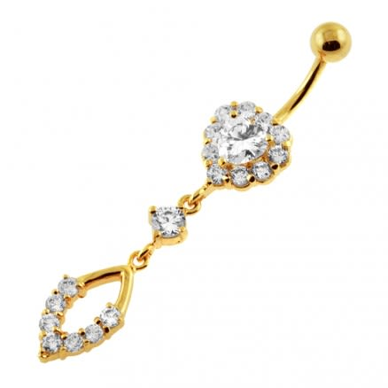 14G 10mm Yellow Gold Platted Silver Clear Jeweled Heart With Surgical Bar Belly Ring