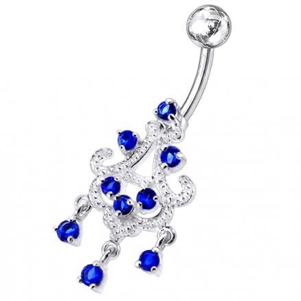 Chandelier Dangling Sky Blue Stone Navel Ring