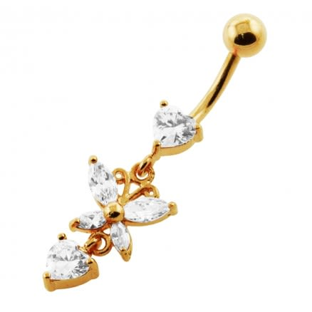 14G 10mm Yellow Gold Platted 925 Sterling Silver Clear Jewel Flower Belly Ring