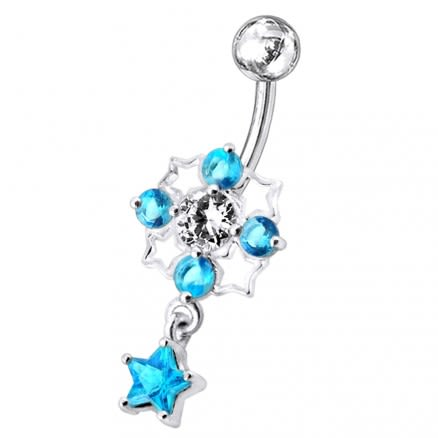 Tetra Star Dangling Belly Ring