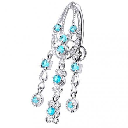 14 Gauge Chandelier Dangling Blue Stone Belly Ring