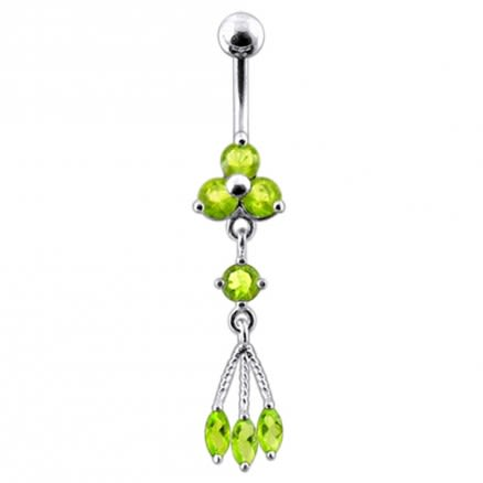 Triple Stone Dangling Belly Ring