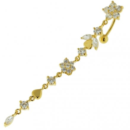 14G 10mm Yellow Gold Platted Silver Clear Jeweled Flower Climber Belly Ring