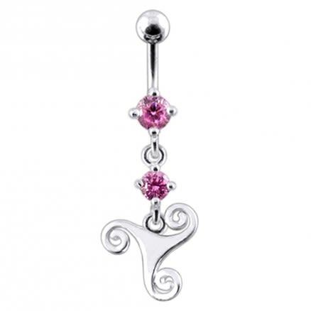 Celtic Surgical Grade Steel Curved Bar Dangling Belly Ring