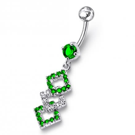 Diamond Shape  Dangling Belly Ring