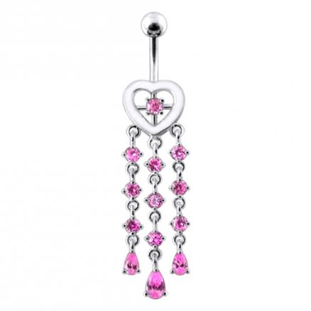 Hearty Cluster Dangling  Belly Ring