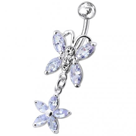 Butterfly and Flower Dangling Navel Belly Ring
