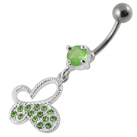Di Cut Butterfly Dangling  Belly Ring