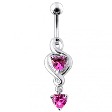 Twin Heart  Dangling  Belly Ring