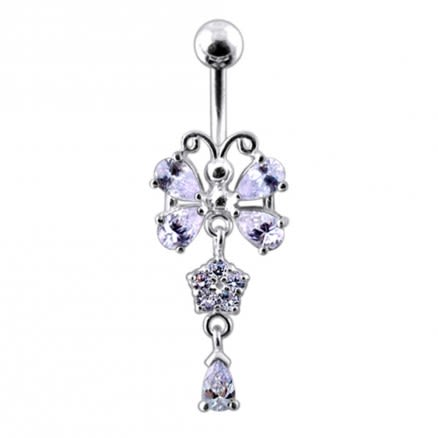 925 Sterling silver Butterfly With Flower Dangling Belly Ring