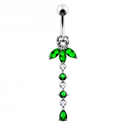 Orchid Flower Dangling  Belly Ring