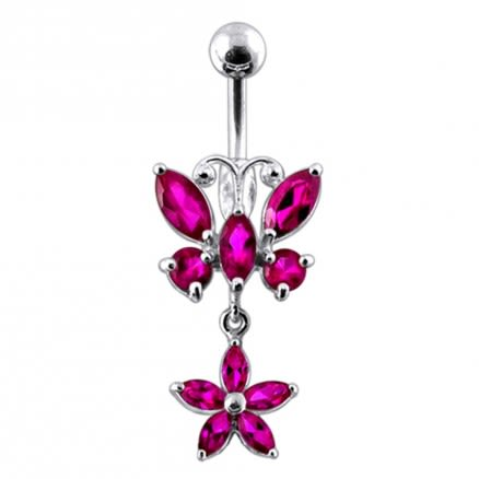 Butterfly and Flower  Silver Dangling  Navel Ring