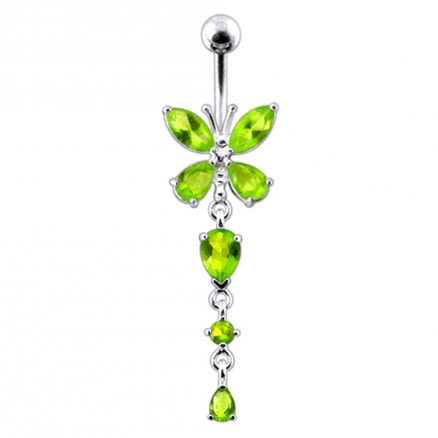 Silver Butterfly Dangling Navel Belly Ring