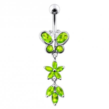Butterfly and Flower Dangling Belly Bar