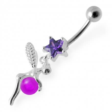 Angel Dangling Jeweled Belly Ring
