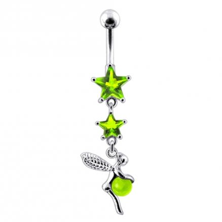 Angel Dangling Jeweled Sterling Silver with 14G SS Bananan Bar Navel Ring