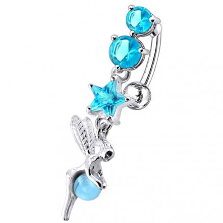 Angel Dangling Jeweled Reverse Bar Belly Ring