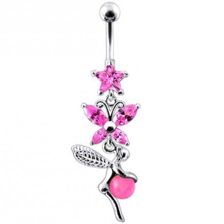 Angel Dangling Multi Stone Navel Ring Body Jewelry