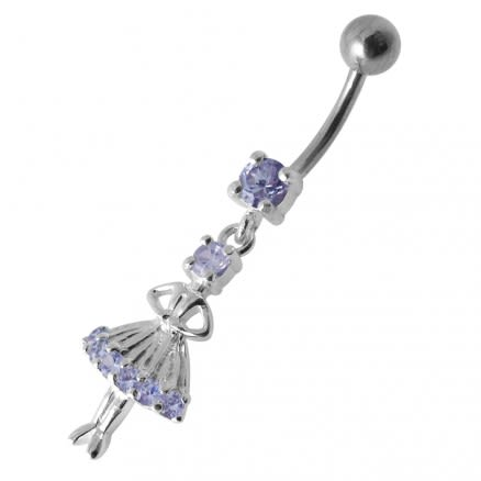 Pink Jeweled Dangling Princess Doll Belly Ring