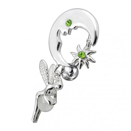 Jeweled Dangling Reverse Bar Belly Ring