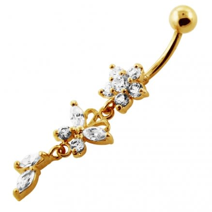 14G 10mm Yellow Gold Platted 925 SterlingSilver Clear Jewel Flower SS Belly Ring
