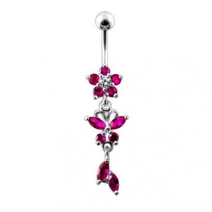 Jeweled Dangling Flower SS Bar Banana Bar Belly Ring