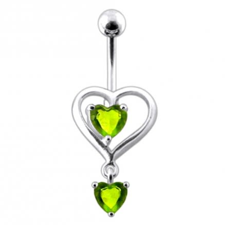 Silver Loop Heart Design Jeweled Dangling Belly Ring