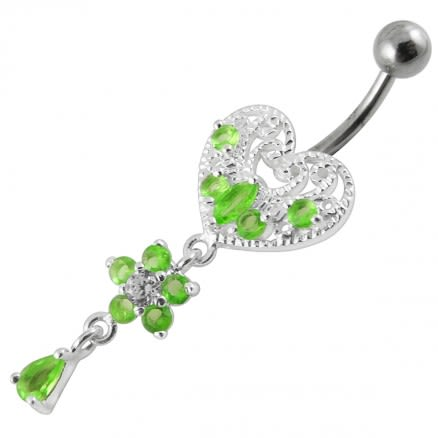 Jeweled Heart Dangling Navel Belly Ring