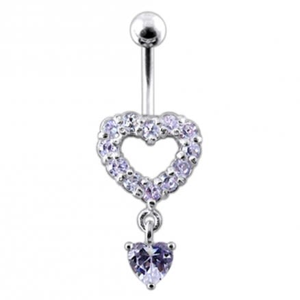 Silver Multi Jeweled Heart Shape Dangling Belly Navel Ring