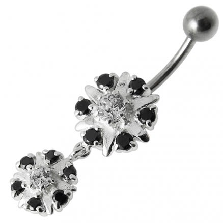 Two Round Jeweled Dangling Navel Belly Ring