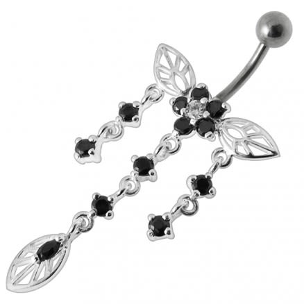 Jeweled Butterfly Dangling Belly Navel Ring