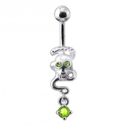 Silver Skull Jeweled Dangling Navel Body Jewelry Belly Ring