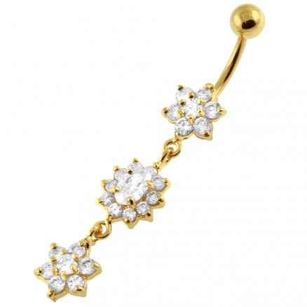14G 10mm Yellow Gold Platted Silver Clear Jewel 3 Flower Multi CZ Navel Ring