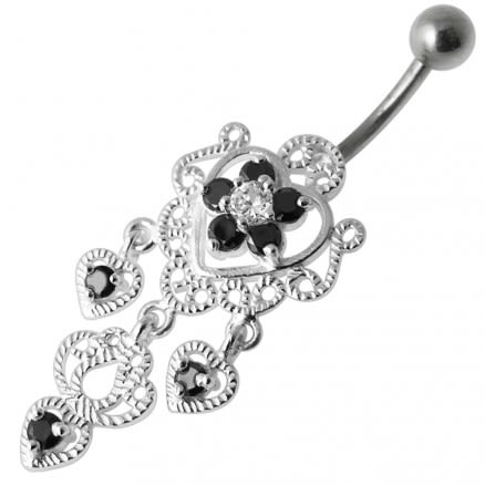Fancy Jeweled Crown Dangling Body Jewelry Navel Belly Ring