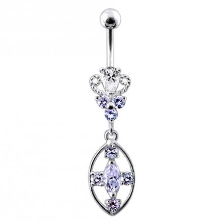 Silver CZ Jeweled Dangling SS Banana Body Jewelry Belly Ring