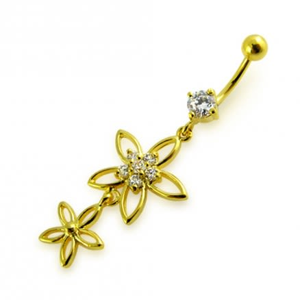 14G 10mm Yellow Gold Platted Silver Clear Jeweled 2 Flower Multi CZ Belly Ring