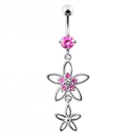Fancy Silver Multi CZ Jeweled Dangling SS Bar Body Jewlelry Navel Ring