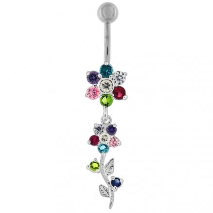 Dangling Flower Navel Belly Ring