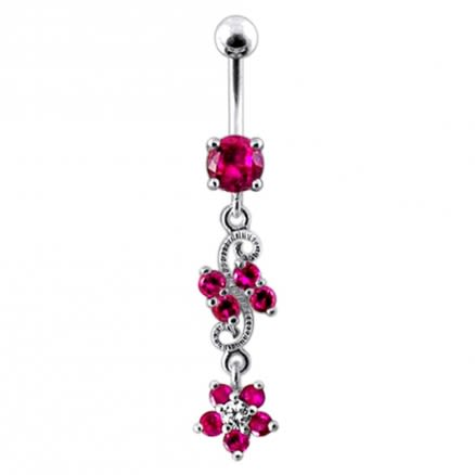 14 Gauge Dangling Jeweled Flower Steel Banana Bar Navel Ring