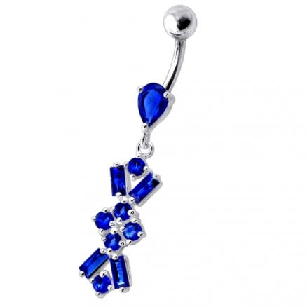 Navel Ring With Dangling Purple Jeweled Flower Body Jewelry